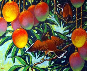 Mynas and Mangoes acrylic painting by Gary Kato